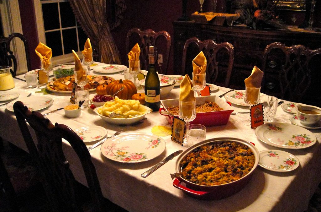 Thanksgiving table with food.